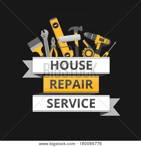 Home repair. Сonstruction tools. Hand tools for home renovation and construction. Flat style vector illustration.