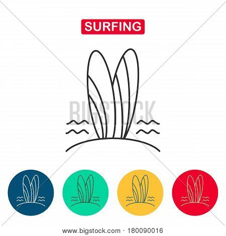 Surfboard line icon. Two surfboards on a sandy beach. Surfing icon for web and graphic design. Line style logo. Vector illustation.