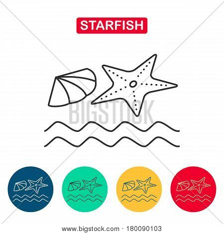 Starfish and shall icon. Starfish and seashell on the seashore. Travel icons for web and graphic design. Line style logo.
