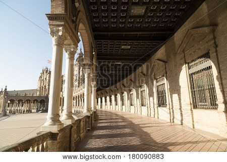Sevilla (Andalucia Spain): the square known as Plaza de Espana. Portico