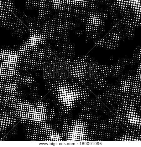 Retro grunge white halftone ink print, seamless pattern on black background