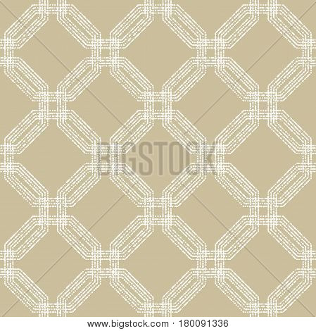 Geometric repeating vector ornament with white octagonal dotted elements. Geometric abstract ornament. Seamless abstract modern pattern