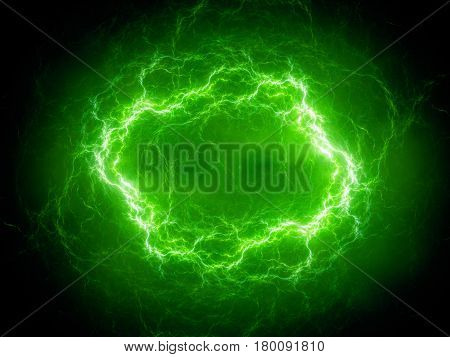 Green spherical high energy plasma lightning in space computer generated abstract background 3D rendering