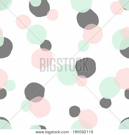 Hand drawn seamless repeat pattern with round shapes in pastel pink gray and mint green on white background. Modern and original textile wrapping paper wall art design.