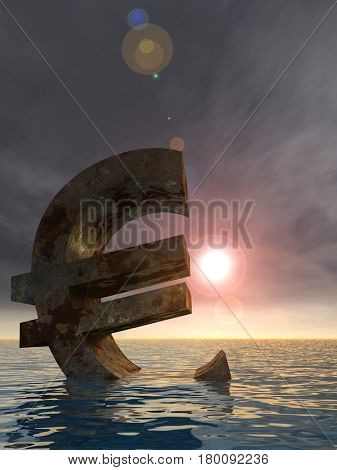 Conceptual 3D illustration currency euro sign or simbol sinking in water, sea or ocean sunset background