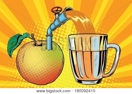 Apple juice is poured into a mug. Pop art retro comic book vector illustration