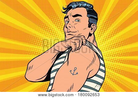 Sailor with tattoo on hand. Pop art retro comic book vector illustration