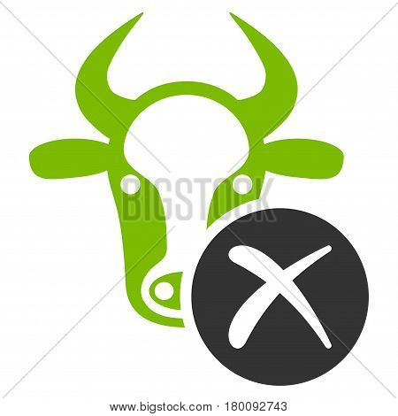 Cow Reject vector icon. Flat bicolor eco green and gray symbol. Pictogram is isolated on a white background. Designed for web and software interfaces.