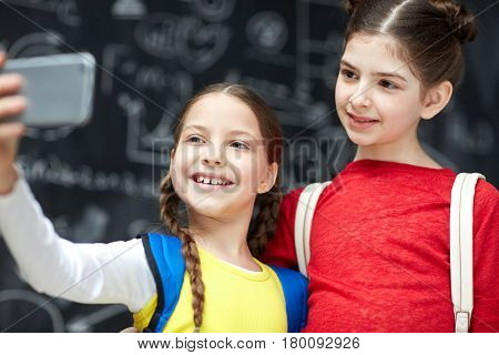 Girl with pigtails making selfie of her and her friend