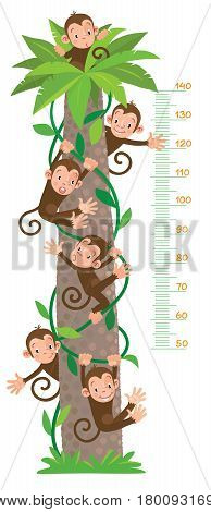 Meter wall or kids height chart with big high bamboo tree, six funny monkeys on lians. Children vector illustration. With scale to measure from 50 to 140 centimeters