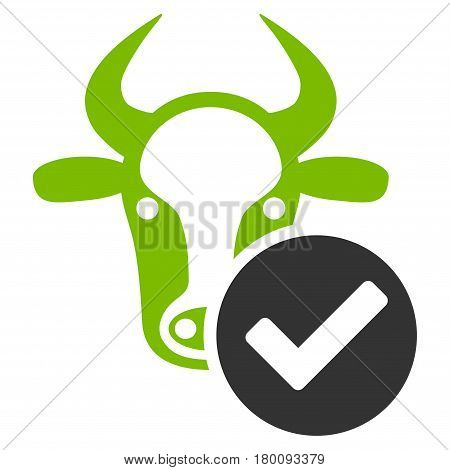 Cow Valid vector icon. Flat bicolor eco green and gray symbol. Pictogram is isolated on a white background. Designed for web and software interfaces.