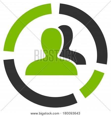 Demography Diagram vector icon. Flat bicolor eco green and gray symbol. Pictogram is isolated on a white background. Designed for web and software interfaces.