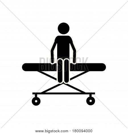silhouette man over gurney, vector illustration design