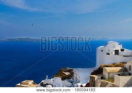 lanscape of Oia village with volcano caldera and Aegan sea, beautiful details of Santorini island, Greece