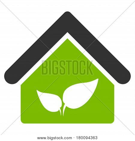 Greenhouse vector icon. Flat bicolor eco green and gray symbol. Pictogram is isolated on a white background. Designed for web and software interfaces.