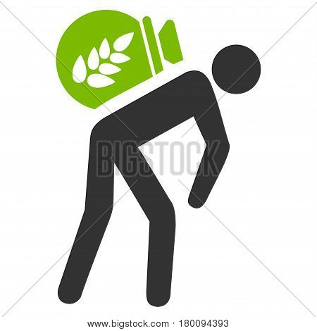 Harvest Porter vector icon. Flat bicolor eco green and gray symbol. Pictogram is isolated on a white background. Designed for web and software interfaces.