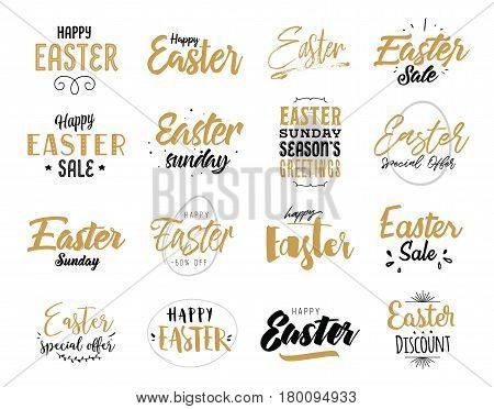 Easter typography design set. Hand drawn text. Vector illustration, usable for greeting cards, banners, sales.