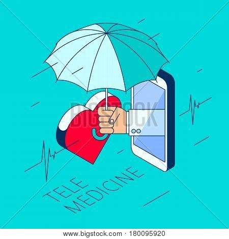 Doctor's hand holding an umbrella. Through the phone screen protecting a patient's heart. Isometric 3d flat line concept illustration. Vector element for tele online medicine design infographic.