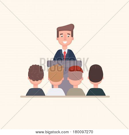 The businessman tells his team standing on the podium. Vector illustration in a flat style.