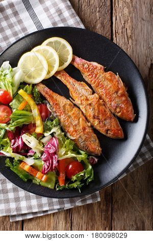 Fried Fish Red Mullet With Fresh Vegetable Salad Close-up. Vertical Top View