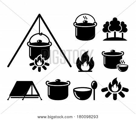 Cooking over a fire, campfire cooking, hike icons set