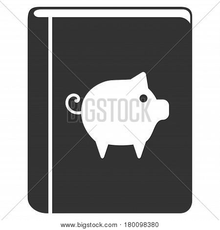 Pig Handbook vector icon. Flat gray symbol. Pictogram is isolated on a white background. Designed for web and software interfaces.