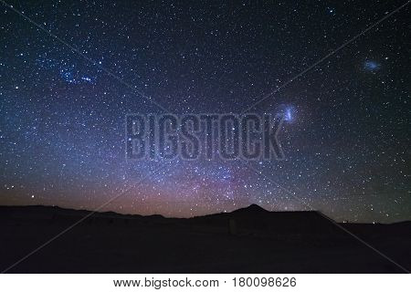 The majestic Magellanic Clouds outstandingly bright captured from the Andea highlands in Bolivia South America.