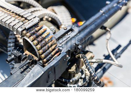 Closeup of helicopter machine gun.