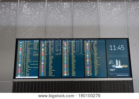 OSLO, NORWAY- January , 2017:  Departure board at airports with destinations