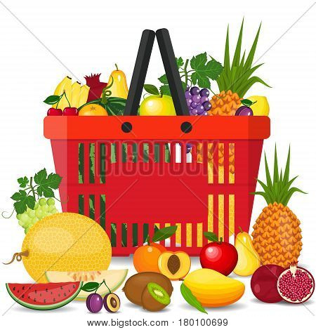 Healthy fruits and vegetarian food banners. Fresh organic food, healthy eating. Vector set supermarket basket with food. Isolated food items falling in supermarket bag. Flat style