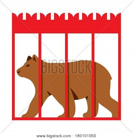 Strong Scary wild animal in captivity. Isolated on a white background