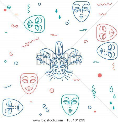Carnival, theater masks pattern. Vector illustration with comedy and tragedy line mask icons. Abstract seamless background
