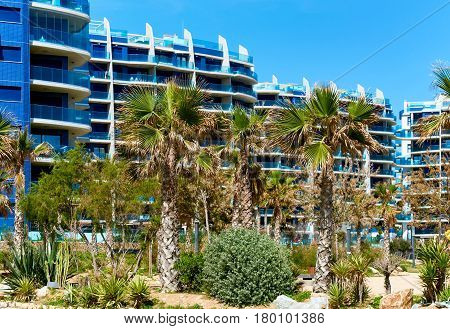 High-rise buildings of Punta Prima. Costa Blanca. Province of Alicante. Spain