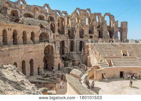 Ruined Coliseum in the afternoon in Tunisia El Jem