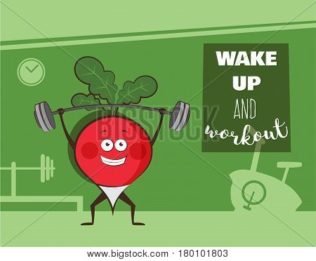 poster of happy radish exercise at a gym. Healhy lifestyle motivation poster. vector illustration
