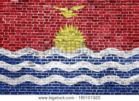 Flag of Kiribati painted on brick wall, background texture