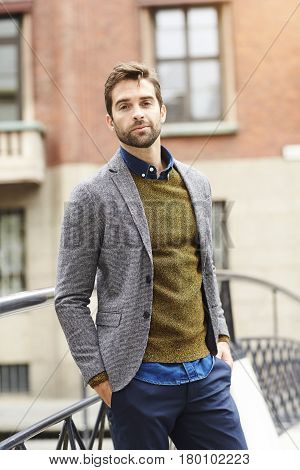 Male model in casual clothing portrait in city