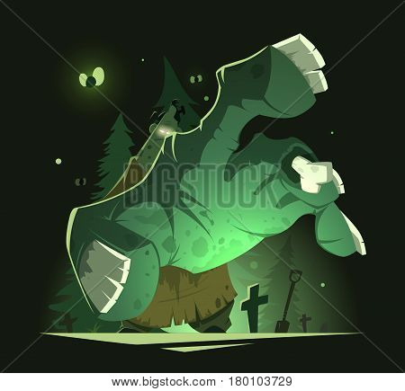 Color vector illustration of big scary undead zombie hand near grave