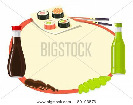 Japanese Cuisine soy sauce, sushi and wasabi in circle on white background. Two bottles with soy sauce and wasabi. Four types of sushi with chopsticks. Traditional Japanese food vector illustration.