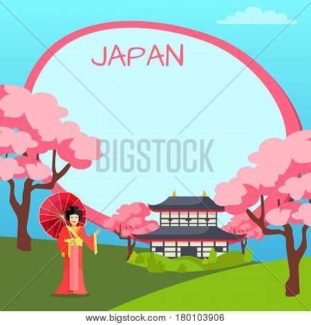 Japan vector poster with oriental elements and oval empty shape for notes. Tag with inscription in center of picture, woman in japanese clothes with umbrella, national building and sakura below