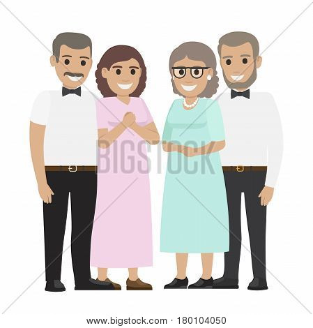 Two middle-aged pair standing together flat vector. Smiling spouses characters in elegant clothes isolated on white background. Happy parents-in-law illustration for wedding and family holiday concept