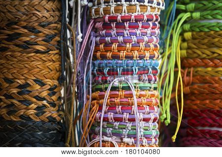 A set of colorful bangles on display at a local store.