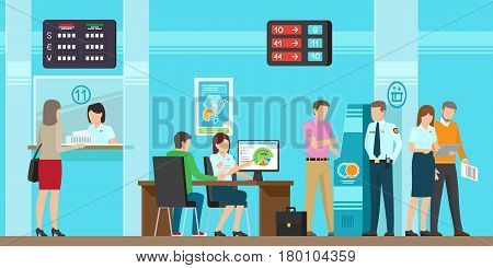 Banking services of all kind vector illustration. Fast cash advance in cash desk, consultants that provide with full information, modern atm with simple use, complete security and cozy office.