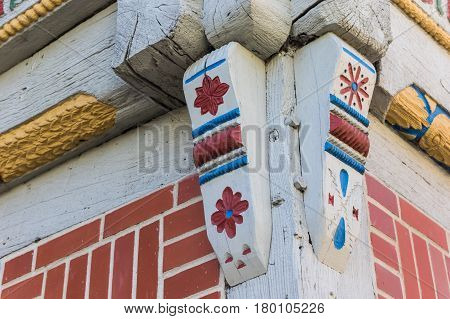 Corner Detail Of A Colorful Half Timbered House In Verden