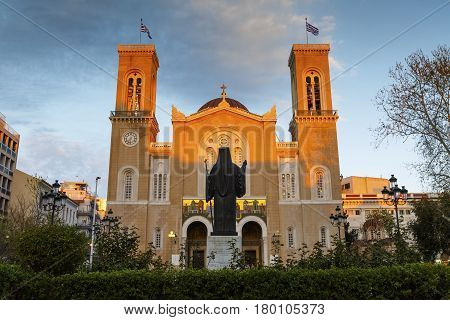 ATHENS, GREECE - MARCH 30, 2017: Square in front of the Metropolitan cathedral of Athens, Greece on March 30, 2017.