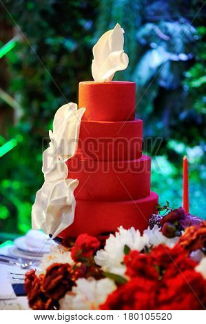 Traditional Anniversary/wedding Multi-layer Cake On Sweet Table