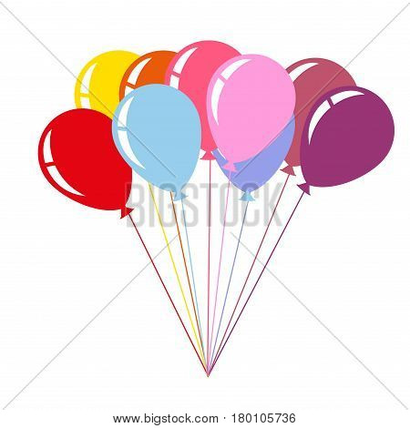 Colorful helium balloons isolated on white background. Cartoon entertaining elements flying in the air. Vector illustration of big bale of balloons in flat style design of blue, red and pink color