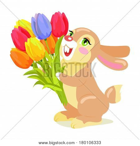 Milk chocolate bunny with luxury bouquet of tulips isolated on white background. Vector illustration of sweet gifts, greeting card with holiday mascot. Festive emblem of hare animal in cartoon style