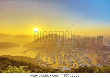 Hong Kong City Aberdeen Area Sunset