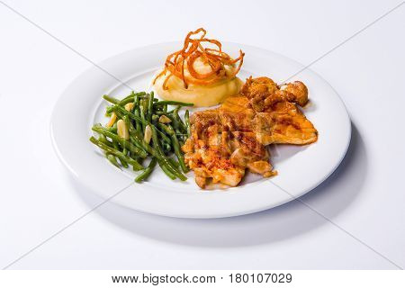 Roast Chicken Breast, Mashed Potatoes And Green Beans